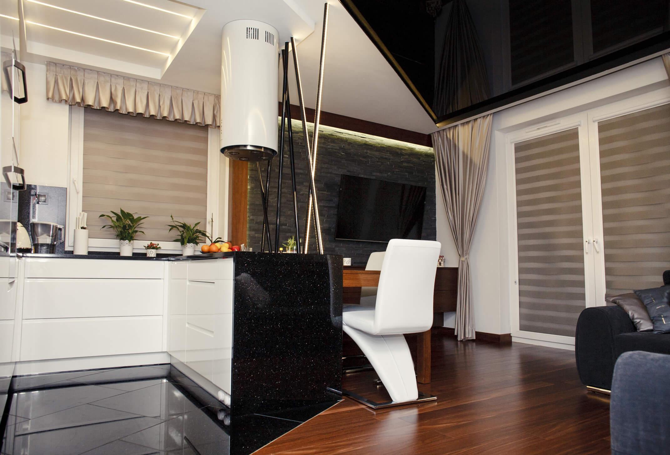 Projekt wnętrza mieszkania - kuchnia/salon - Rokitki koło Tczewa