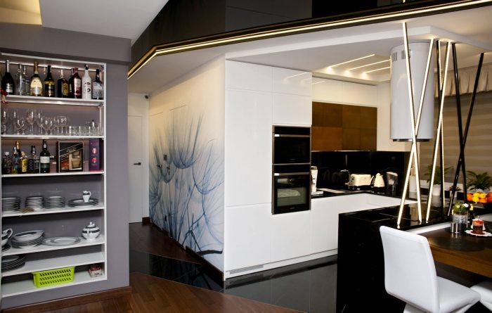 Projekt wnętrza mieszkania - salon/jadalnia - Rokitki koło Tczewa